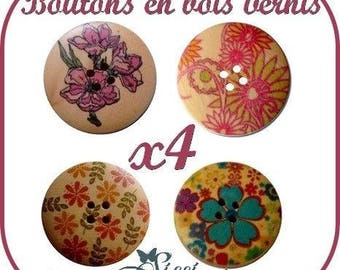 WHOLESALE LOT of 4 MAXI flower knit SCRAPBOOKING 30mm wooden buttons