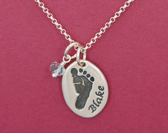 Custom Footprint Necklace - Petite -  Made From Your Print
