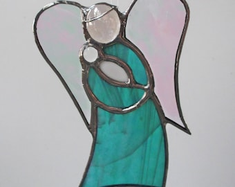 Aqua Green Angel Holding Baby Stained Glass Suncatcher or Christmas Holiday Ornament