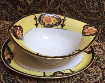 Noritake Gold trimmed Gravy Bowl and plate