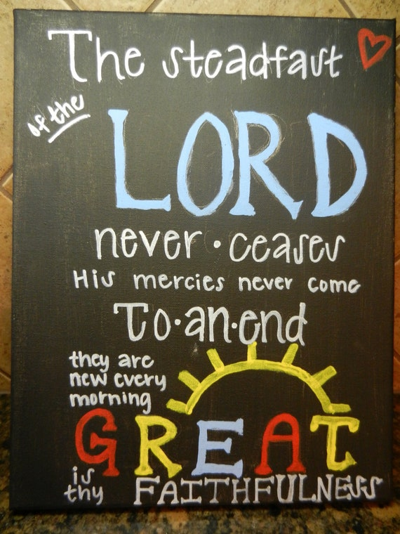 Items Similar To Black Canvas Painting With Bible Verse Lamentations 322 23 On Etsy