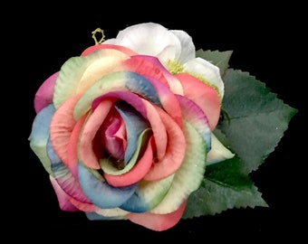Rainbow Flower Hair Clip- Fairy Costume- Rainbow Fascinator- Rose Hair Clip- Fairytale Wedding- Hand Fasting- Fairy Hair Clip- Rainbow Hair