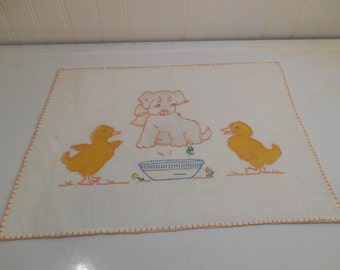 Vintage embroidered linen, Puppies, Ducklings, Hand embroidered linen, OOAK embroidery, Kitschy linens, Nursery decor, Child's room decor
