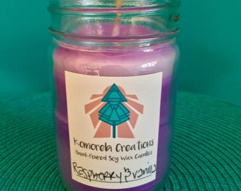 Raspberry & Vanilla Scented Hand Poured Soy Wax Candle