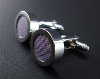 Lavender cuff links – pale purple silk mens cufflinks - 12th or 4th anniversary gift – mans accessories traditional silk anniversary present