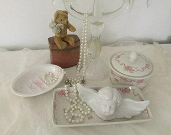 Laura Ashley Old English Badset soap dish comb bowl porcelain can toilet tray vintage 19. Jhrdt. Edwardian Style Boudoir