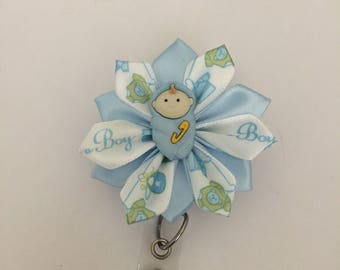 Baby Boy ID badge holder, Retractable ID holder