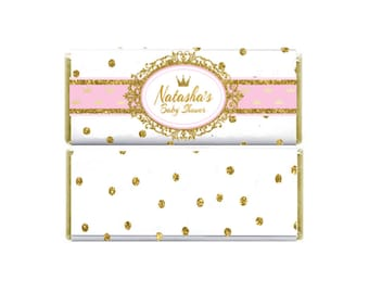 Royal Princess Baby Shower Hershey's Candy bar Wrapper & Foil, Pink Gold Glitter, Crown Customized for you!