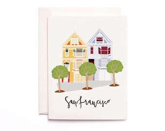 San Francisco Painted Ladies Card, Illustrated San Francisco Greeting Card, San Francisco Gift