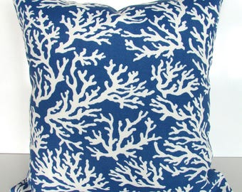 BLUE Throw Pillows Blue Coral Throw Pillow Covers Indoor Outdoor Pillows Blue Pillow Covers Outdoor Blue Pillow 16 18x18 20 Home Decor