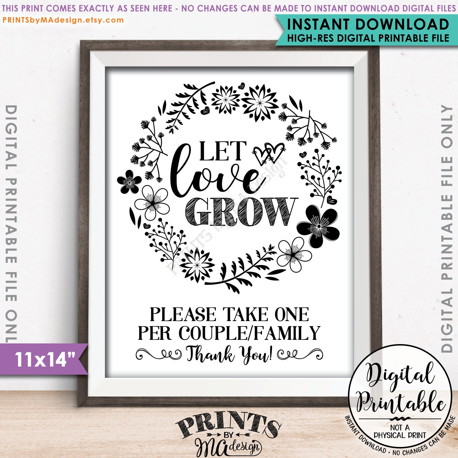 Let Love Grow Sign, Watch Our Love Grow Wedding Favors One Per ...
