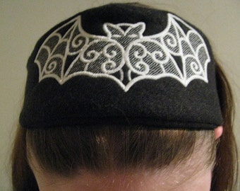 GLOW in the DARK Black and White Batty Headband