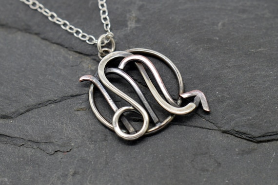 Leo scorpio zodiac necklace oxidised sterling silver and mozeypictures Images