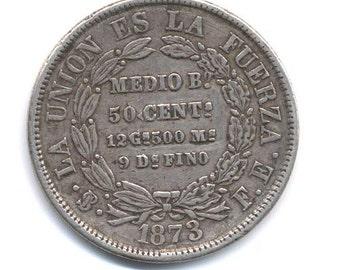 Bolivia 50 Centavos Silver 1873