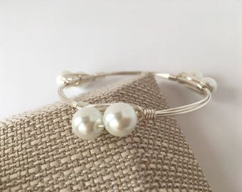 Pearl Wire Wrapped Bangle, Wire Wrap Bangle, Wire Wrapped Bracelet, Wire Wrap  Bracelet, Wire Bangle, Pearl Bangle