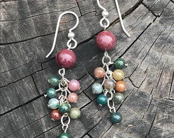 Indian Agate, sterling silver, cluster, earrings