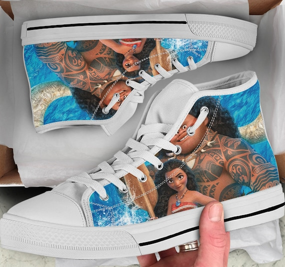 high Tops High Colorful Moana Moana Shoes like Converse sneakers Moana Sneakers Men's Top Shoes Women's Shoes Looks wxqpBT