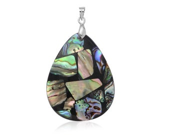 Abalone Shell in Resin Pear Pendant Silver-Tone Without Chain