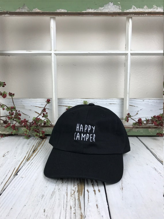 HAPPY CAMPER Baseball Hat Low Profile Embroidered Camping Hat Baseball Caps Dad Hats, Black