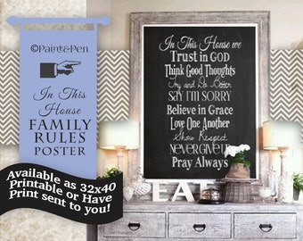 House Rules- Holiday Gift Idea- Christian Based- Any Size Printable- Mixed Font- Faith- Trust in God- Pray Always- Print Options Available