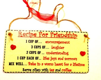 GIFT For a Special Friend - Recipe For Friendship - Hand Made Wood Plaque