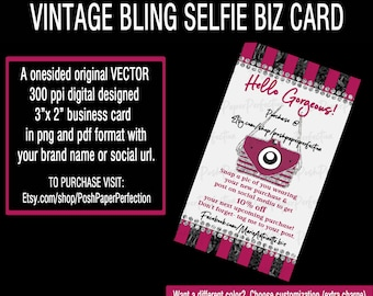 Bling business cards etsy vintage bling selfie cards colourmoves
