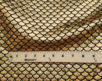 New Gold/Black Mermaid Fabric on Spandex Sold by the yard