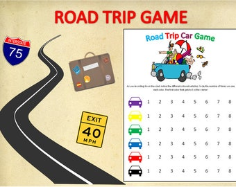 Printable Road Trip Game for Children~Identify Vehicle Colors~Digital Road Trip Activity~Traveling Game~Travel Activity~Road Trip Game