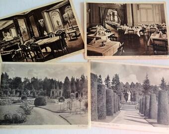Vintage Real Photo Postcard Ensemble of German Sites Ohlsdor Gardens and Urbans Hotel Eternal Lamp Koln and Cafe Total of 4