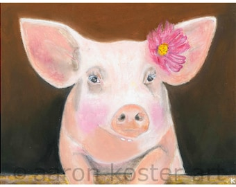 Pig Art, Pig Decor, Pig Portrait, Pig Painting, Pig Art Print, Pig Lover