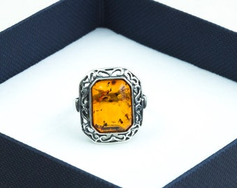 "Baltic Amber Ring Cognac Amber Sterling Silver Natural Amber Jewelry ""Antique"" Ring Women Celtic Elegant Perfect Amber Gift for Her"