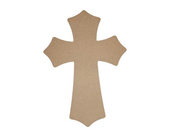 "Unfinished Wood Cross Wooden Crosses 15.5"" Inch Tall Paintable MDF Crafts  Part MC15.5-043"