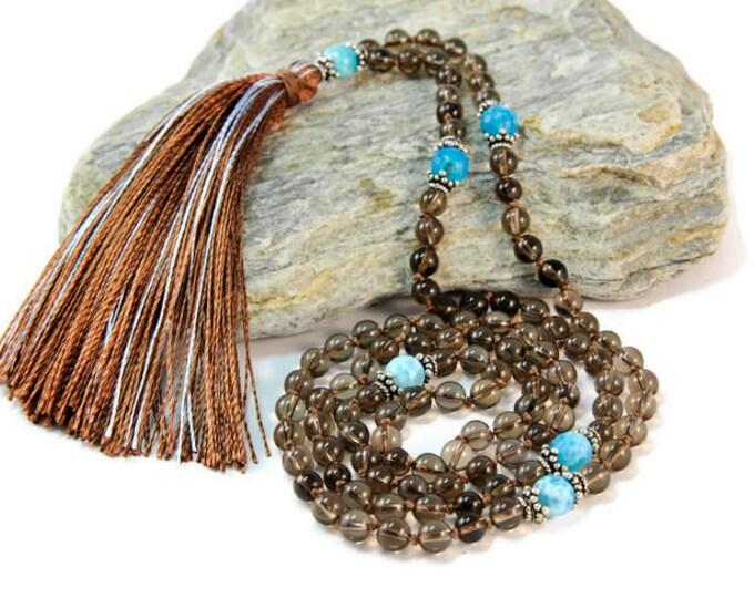 Smoked Quartz & Crack Agate Necklace Mala Boho Style. Yoga. Meditation. Ideas for her. Boho Jewelry. Bohemian Necklace. Tassel Necklace