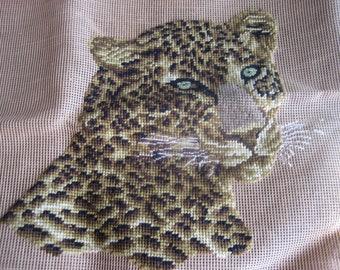 Dritz Needle Point Pillow 19 x 19, Unfinished Canvas, Jaguar Portrait, no yarn