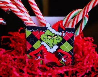 The Grinch favor box, Mr Grinch favors, Christmas boxes, Christmas party favors,Christmas Grinch box.  Set of 10