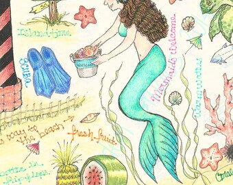Day at the Beach, Beach Illustration, Beach Art, Journal Page, Scrapbooking, Print