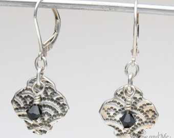 Vintage Style Fine Silver Earrings with Swarovski Crystals