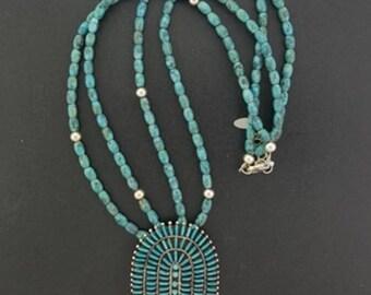 18 inches Kingman turquoise beaded necklace Kingman turquoise cluster pendant
