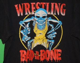 VTG 1991 E.C.L. Wrestling Bad To The Bone Skull / Skeleton Men's Size XL Extra Large T Shirt