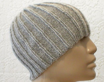 Silver gray beanie hat, ribbed hat, gray hat, toque, mens womens knit hat, womens mens gray hat, chemo cap, knitted hat, gray beanie hat