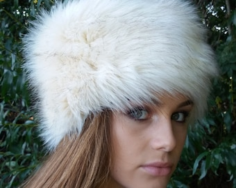 Cream Faux Fur Hat with Brown Tips Russian Style with Cosy Polar Fleece Lining