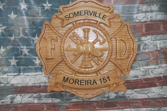 Wood Maltese Cross ,Fire Fighter Wood Carved, firefighter, firefighter wedding, firefighter decor, Firefighter sign, Firefighter maltese