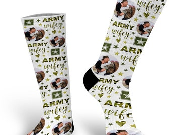Army wife Socks, Custom Socks, Personalized Socks, Custom Printed Socks, Picture Socks, Photo Gift, Custom Photo Socks --62161-SOX1-603