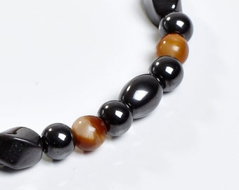 Brown and Black Magnetic Therapy Bracelet - Shades Of Tan Magnetic Therapy for Man or Woman