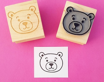 Bear Rubber Stamp - Cute Teddy Bear Rubber Stamp - New Baby Stamp - Cuddly Toy - Birth Announcement - New Baby Card - Baby Girl - Baby Boy