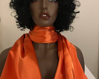 Orange silky satin charmeuse scarf, head wrap, neck scarf accessory, women's gifts