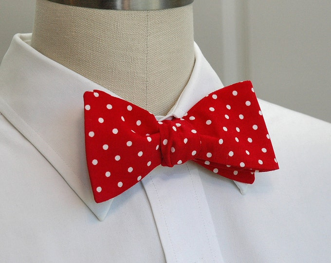 Men's Bow Tie, red with white polka dots, fire engine red bow tie, bright red bow tie, scarlet bow tie, red wedding bow tie, groom bow tie,