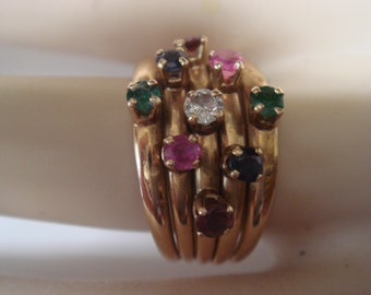 14k Cluster Ring with Matching Earrings