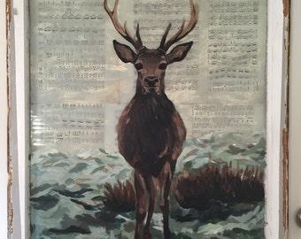 Doe Re Me: Deer Painting on Vintage Window