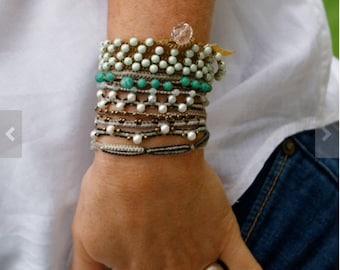 Crochet wrap bracelet - Boho crochet bracelet, Yoga jewellery, Beach bracelet, multi wrap crochet charm bracelet, summer layering bracelet